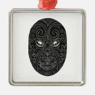 Maori Mask Scratchboard Metal Ornament