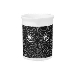 Maori Mask Scratchboard Pitcher