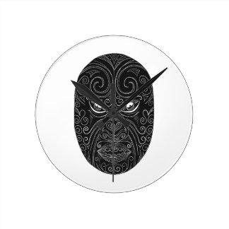 Maori Mask Scratchboard Round Clock