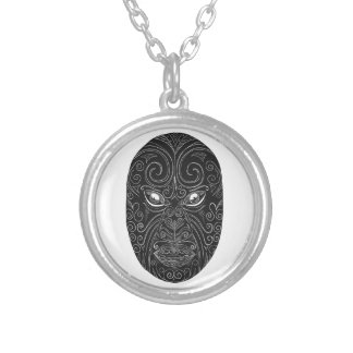 Maori Mask Scratchboard Silver Plated Necklace