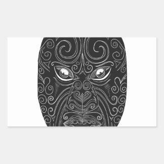Maori Mask Scratchboard Sticker