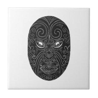 Maori Mask Scratchboard Tile
