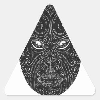 Maori Mask Scratchboard Triangle Sticker