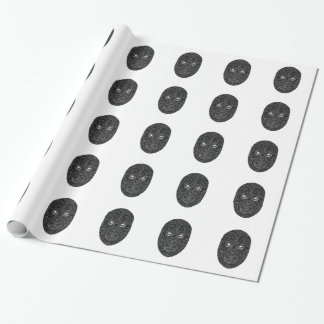 Maori Mask Scratchboard Wrapping Paper