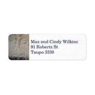 Maori Rock Carving Address Label