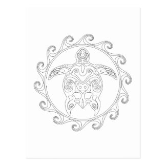 Maori Sun Tribal Turtle Adult Coloring Postcard