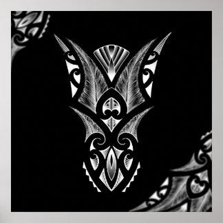 Maori tattoo artwork with koru design poster