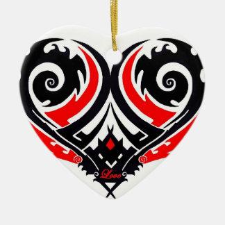 Maori Tattoo Heart Ceramic Heart Ornament