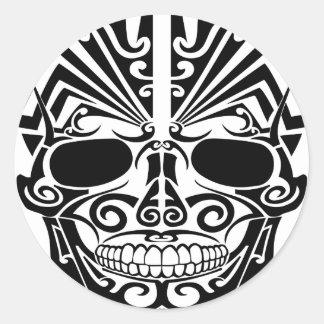 Maori Tattoo Mask Skull Classic Round Sticker