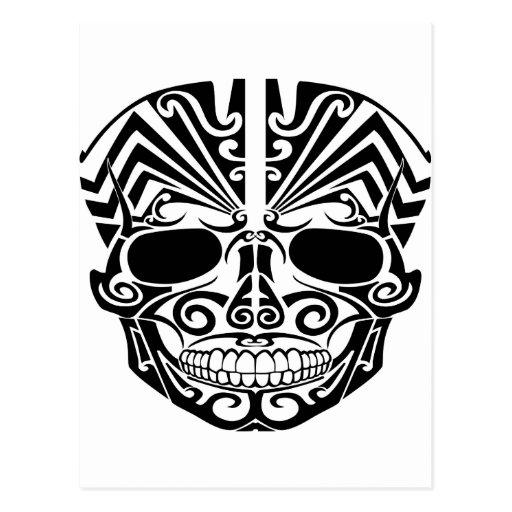 Maori Tattoo Mask Skull Post Cards