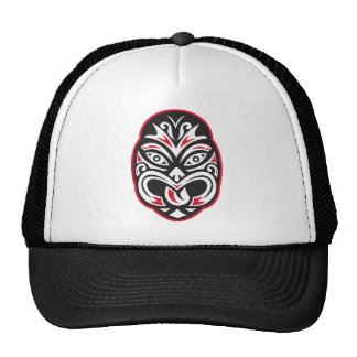 maori tiki moko tattoo mask trucker hat