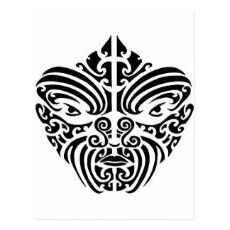 Maori Tribal Tattoo Mask Postcard