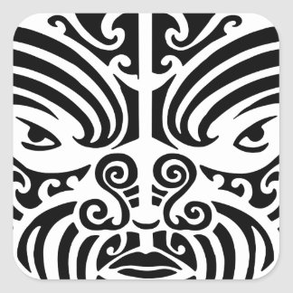 Maori Tribal Tattoo Mask Square Sticker