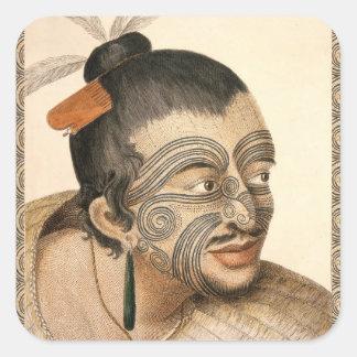 Maori Warrior about 1784 Square Sticker
