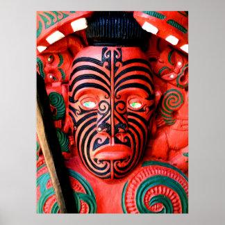 Maori Warrior Carving, New Zealand Poster