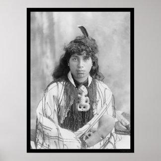 Maori Woman from Rotorua New Zealand 1895 Poster