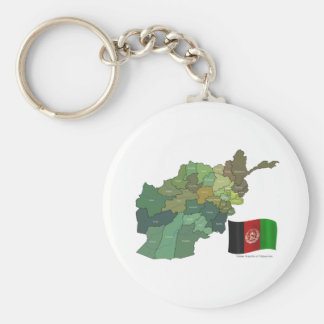 Map and Flag of Afghanistan Keychain