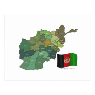 Map and Flag of Afghanistan Postcard