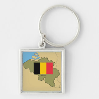 Map and Flag of Belgium Keychain