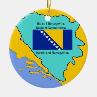 Map and Flag of Bosnia Herzegovina Ceramic Ornament