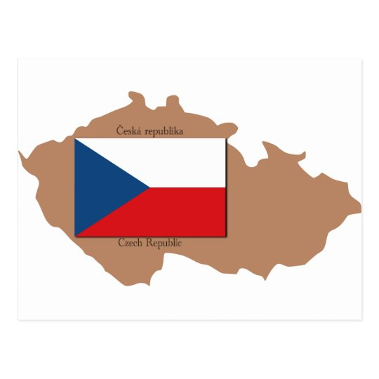 Map and Flag of Czech Republic Postcard