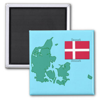Map and Flag of Denmark Magnet