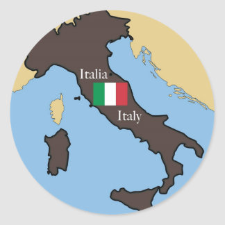 Map and flag of Italy Classic Round Sticker