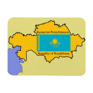 Map and Flag of Kazakhstan Magnet