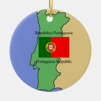Map and Flag of Portugal Ceramic Ornament