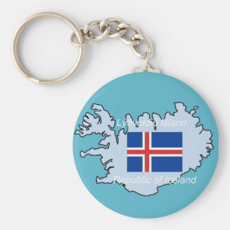 Map and Flag of Republic of Iceland Keychain