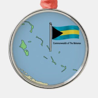 Map and Flag of the Bahamas Metal Ornament
