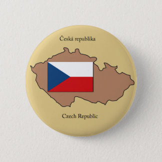 Map and Flag of the Czech Republic 2 Inch Round Button