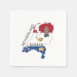 Map and Flag of the Netherlands Paper Napkin