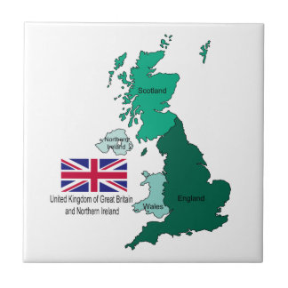 Map and Flag of the United Kingdom Ceramic Tiles