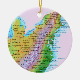 Map Appalachian Mountains East Coast US Photo Round Ceramic Ornament