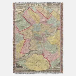 Map Around The City Of Philadelphia Throw Blanket