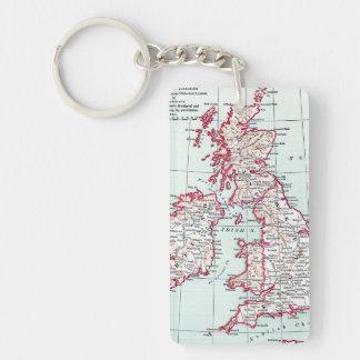 MAP: BRITISH ISLES, c1890 Double-Sided Rectangular Acrylic Keychain