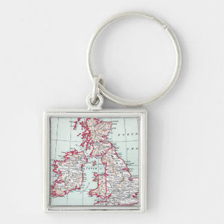 MAP: BRITISH ISLES, c1890 Silver-Colored Square Keychain