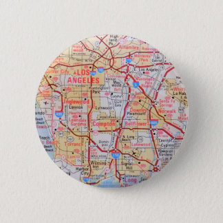 Map California LA Beverly Hills Beaches Photo 2 Inch Round Button