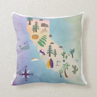 map california pillow throw, home decor