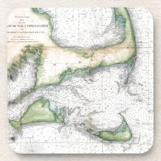 Map Cape Cod, Nantucket, Martha's Vineyard Coaster
