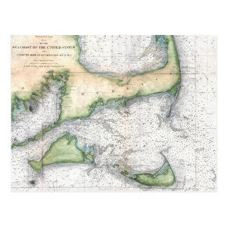 Map Cape Cod, Nantucket, Martha's Vineyard Postcard