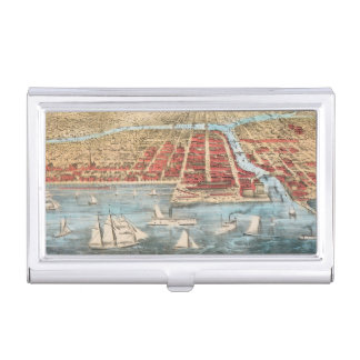 MAP: CHICAGO, c1857 Business Card Cases
