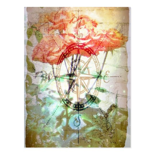 Map, Compass, Roses Postcard