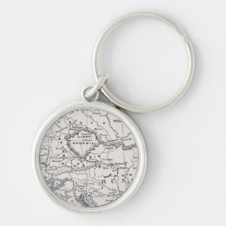 MAP: GERMANY AND AUSTRIA Silver-Colored ROUND KEYCHAIN