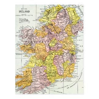 MAP: IRELAND, c1890 Postcard
