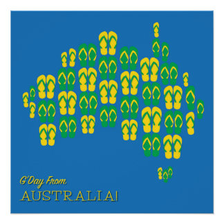 Map made of Aussie thongs Perfect Poster
