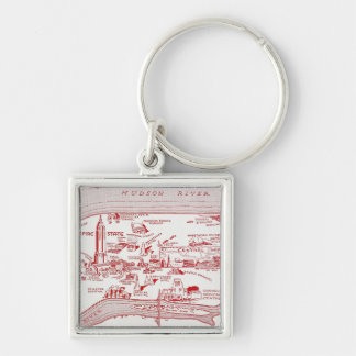 MAP: MANHATTAN, c1935 Silver-Colored Square Keychain