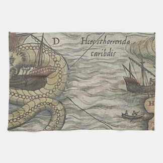 Map Monster/Sea Serpent Kitchen Towel