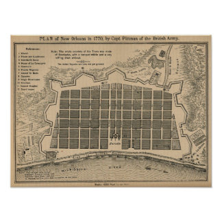 Map New Orleans 1770 Poster